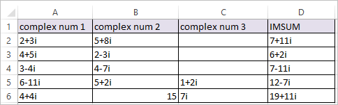 IMSUM Function in Excel 2