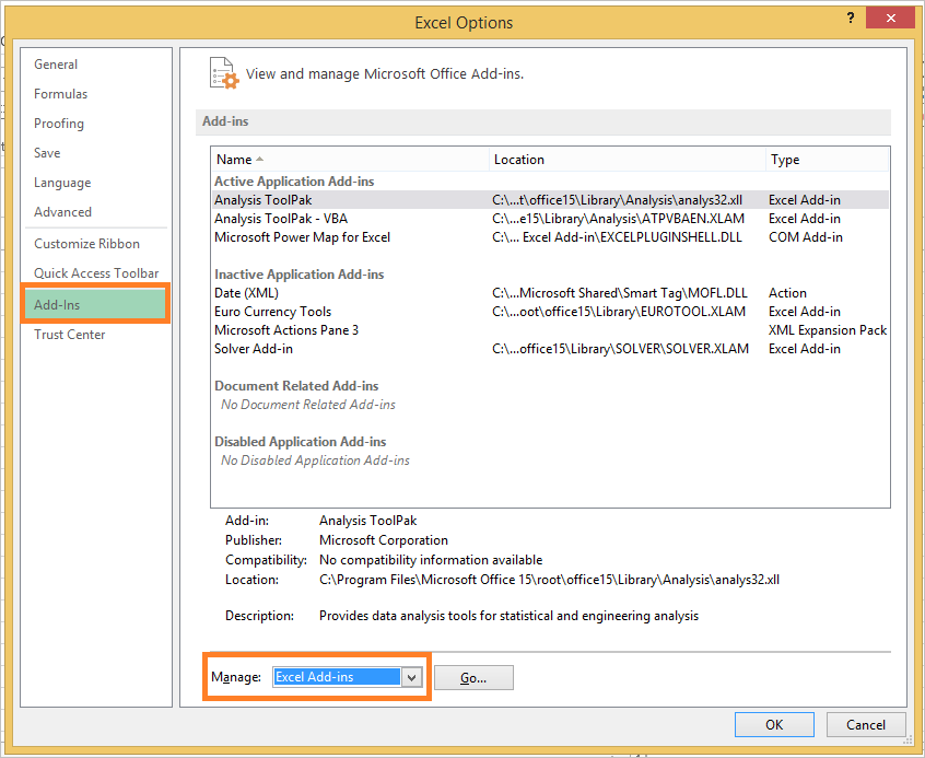 INSTALL OR LOAD ANALYSIS TOOLPAK IN EXCEL