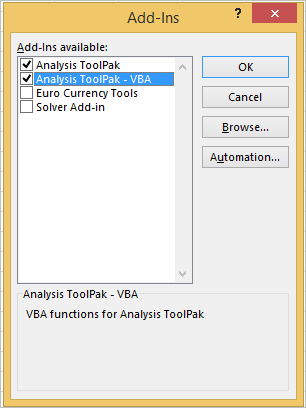 INSTALL OR LOAD ANALYSIS TOOLPAK IN EXCEL 2