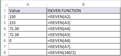 ISEVEN Function in Excel 1