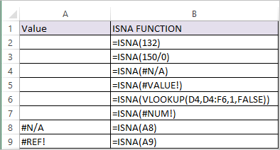 ISNA function in Excel 1