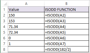 ISODD Function in Excel 1