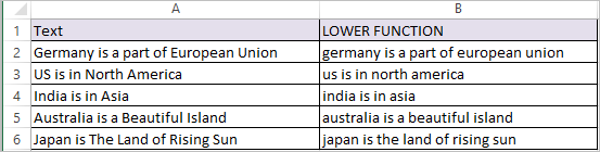 LOWER Function in Excel 2