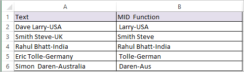 MID Function in Excel 2
