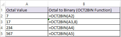OCT2BIN Function in Excel 1
