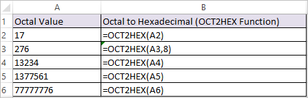 OCT2HEX Function in Excel 1