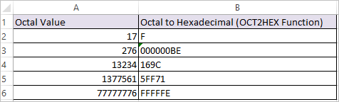 OCT2HEX Function in Excel 2