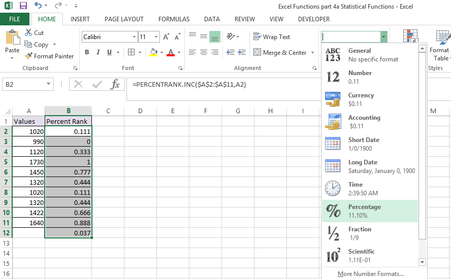 PERCENTRANK.INC Function in Excel 2