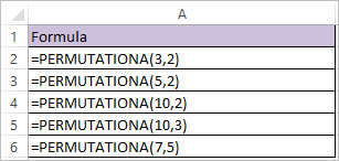 PERMUTATIONA FUNCTION IN EXCEL 1