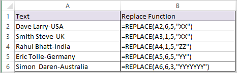 REPLACE function in Excel 1