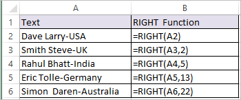 RIGHT Function in Excel 1