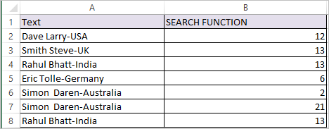 SEARCH Function in Excel 2
