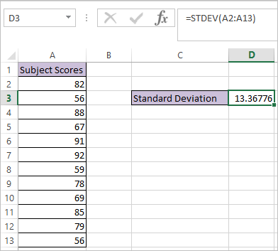 STDEV function in Excel 3