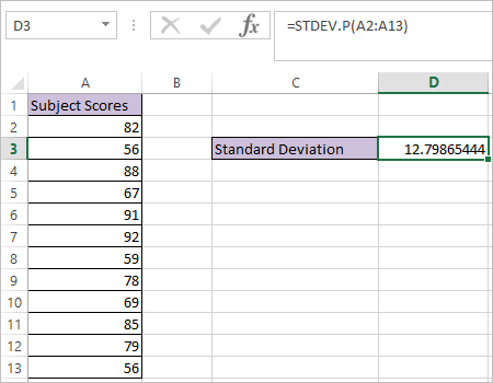 STDEV.P function in Excel 2