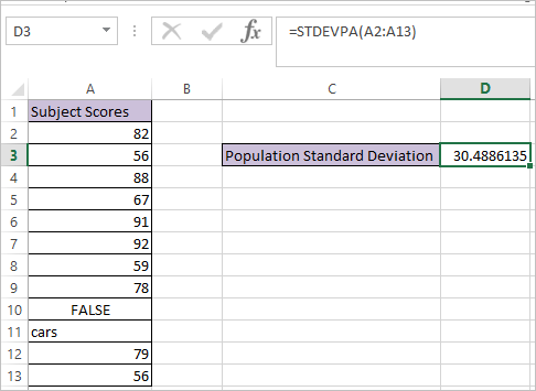 STDEVPA function in Excel 2