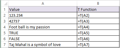 T Function in Excel 1