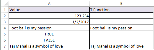 T Function in Excel 2