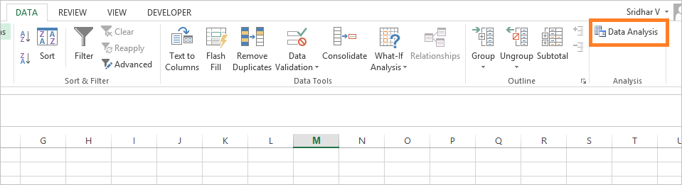 T Test in Excel 2