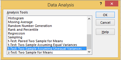 T Test in Excel 3