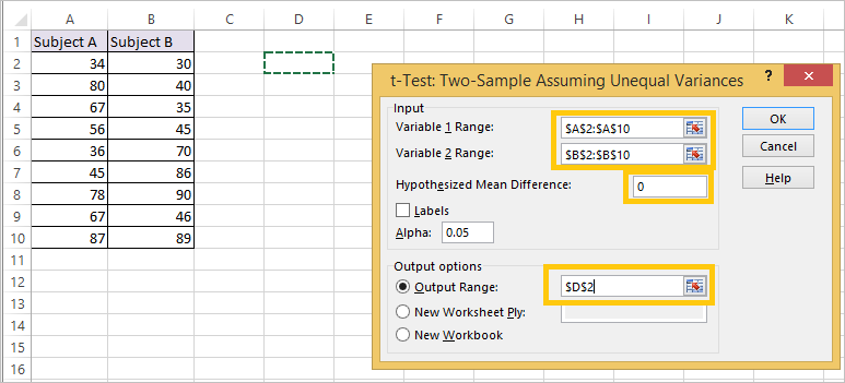 T Test in Excel 4