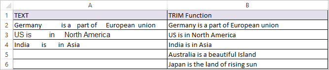 TRIM Function in Excel 2