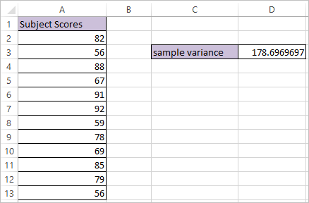 VAR.S function in Excel 2