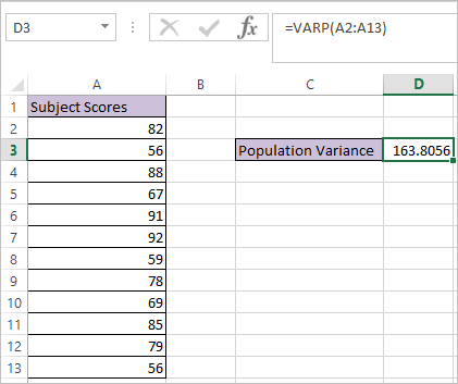 VARP function in Excel 2