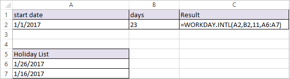 WORKDAY.INTL Function in Excel 3