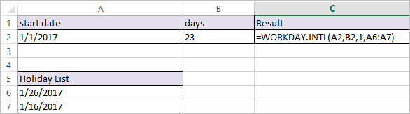 WORKDAY.INTL Function in Excel 1