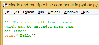 single and multiline comment in python 2