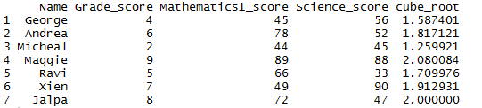nth root of the column in R 3