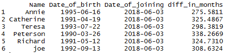 Difference of two dates in R by days, weeks, months, quarter, year 4