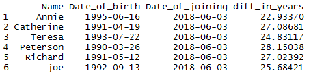 Difference of two dates in R by days, weeks, months, quarter, year 5