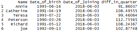 Difference of two dates in R by days, weeks, months, quarter, year 6